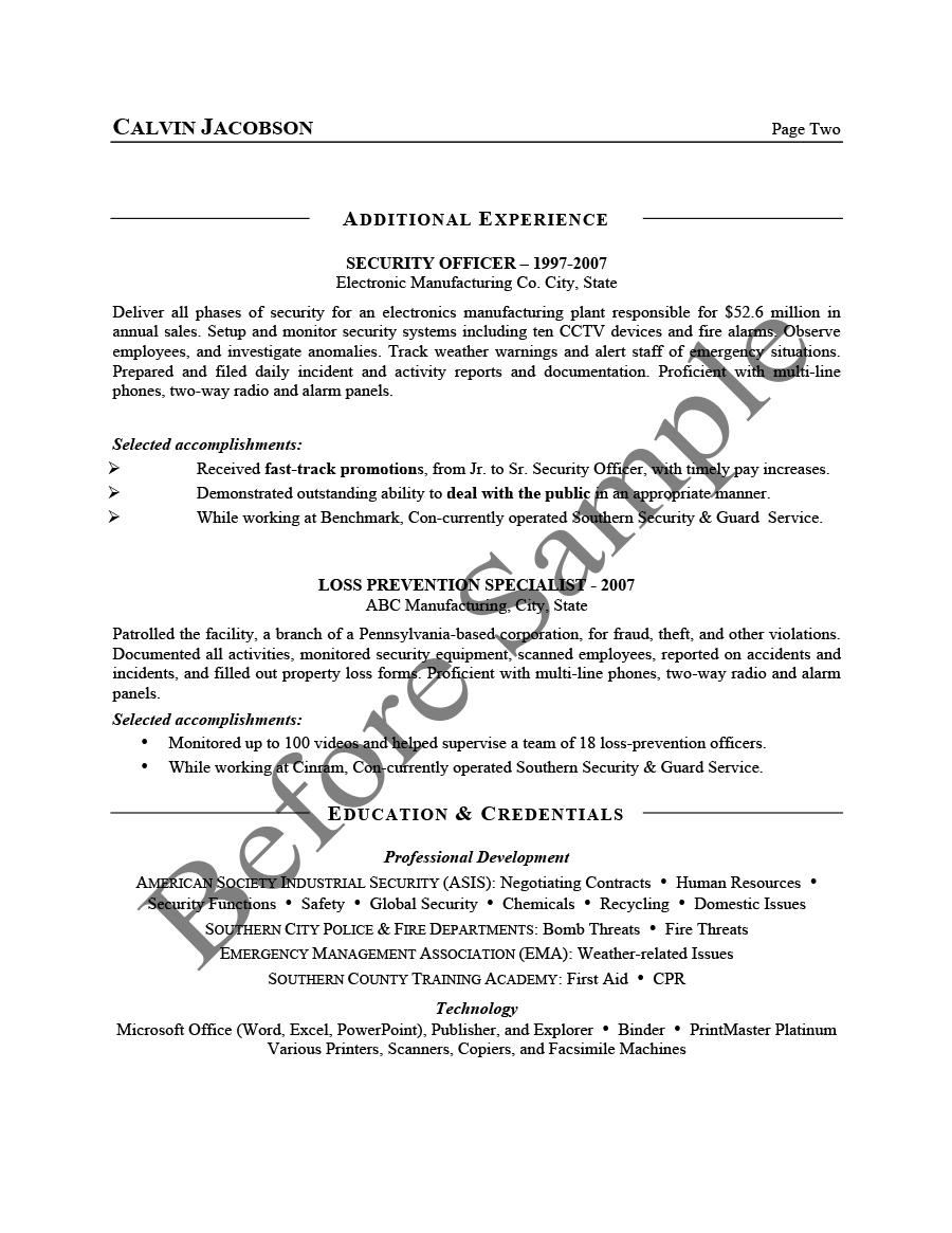 before security management resume 2 - Personal Interests On Resume Examples
