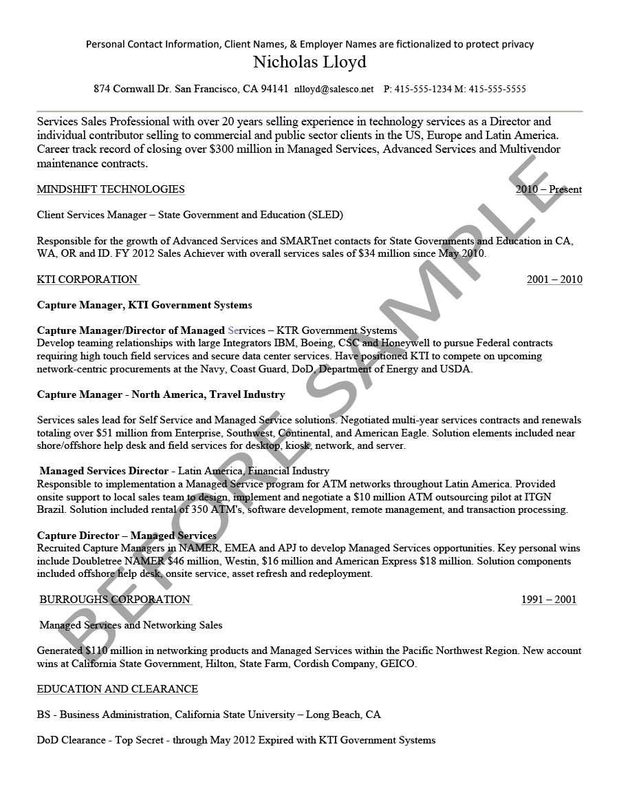 before senior account manager - American Resume Samples