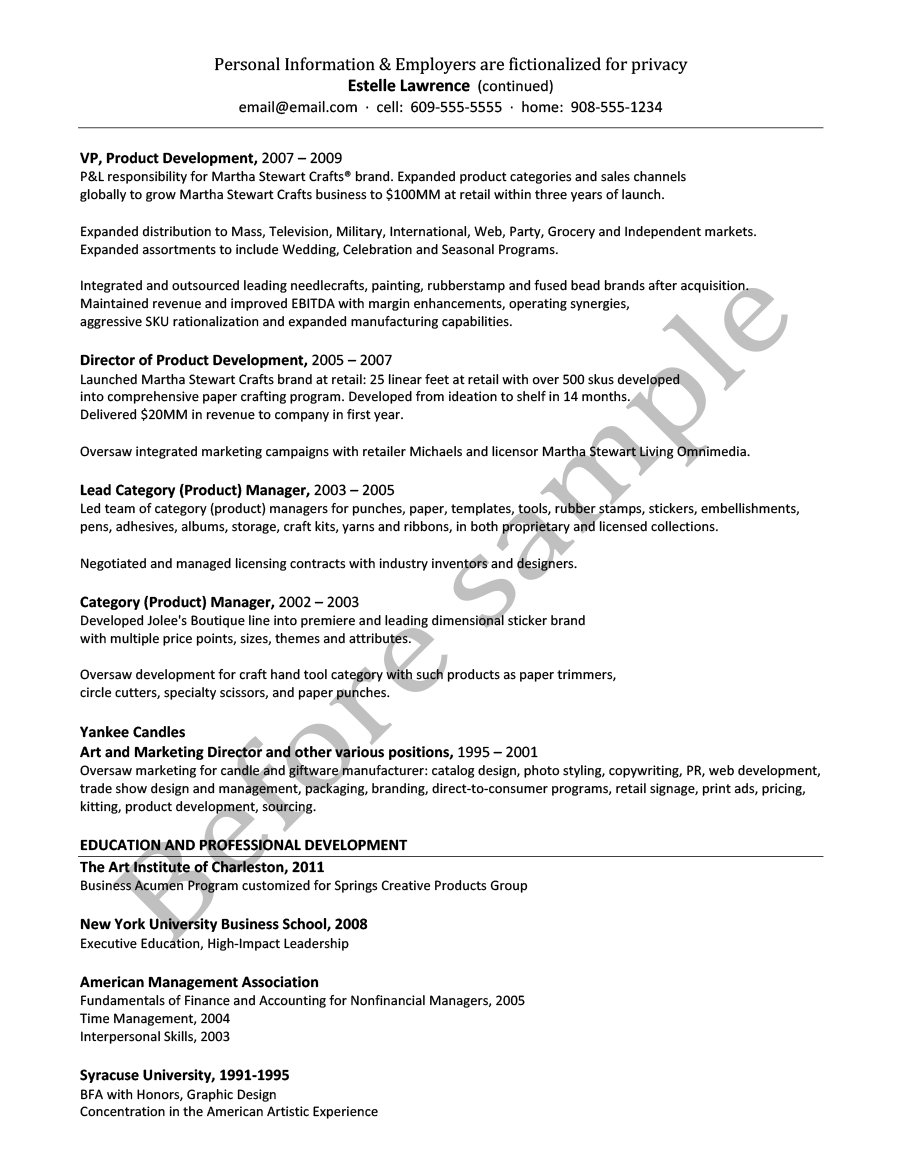 Resume Samples Chesepeake Career Management Services