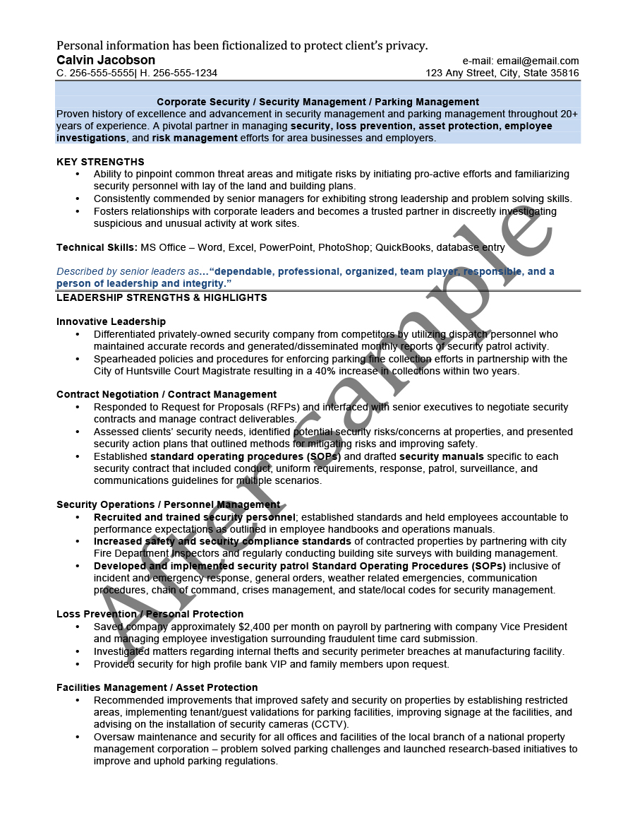 After Security Management Resume  Facilities Management Resume