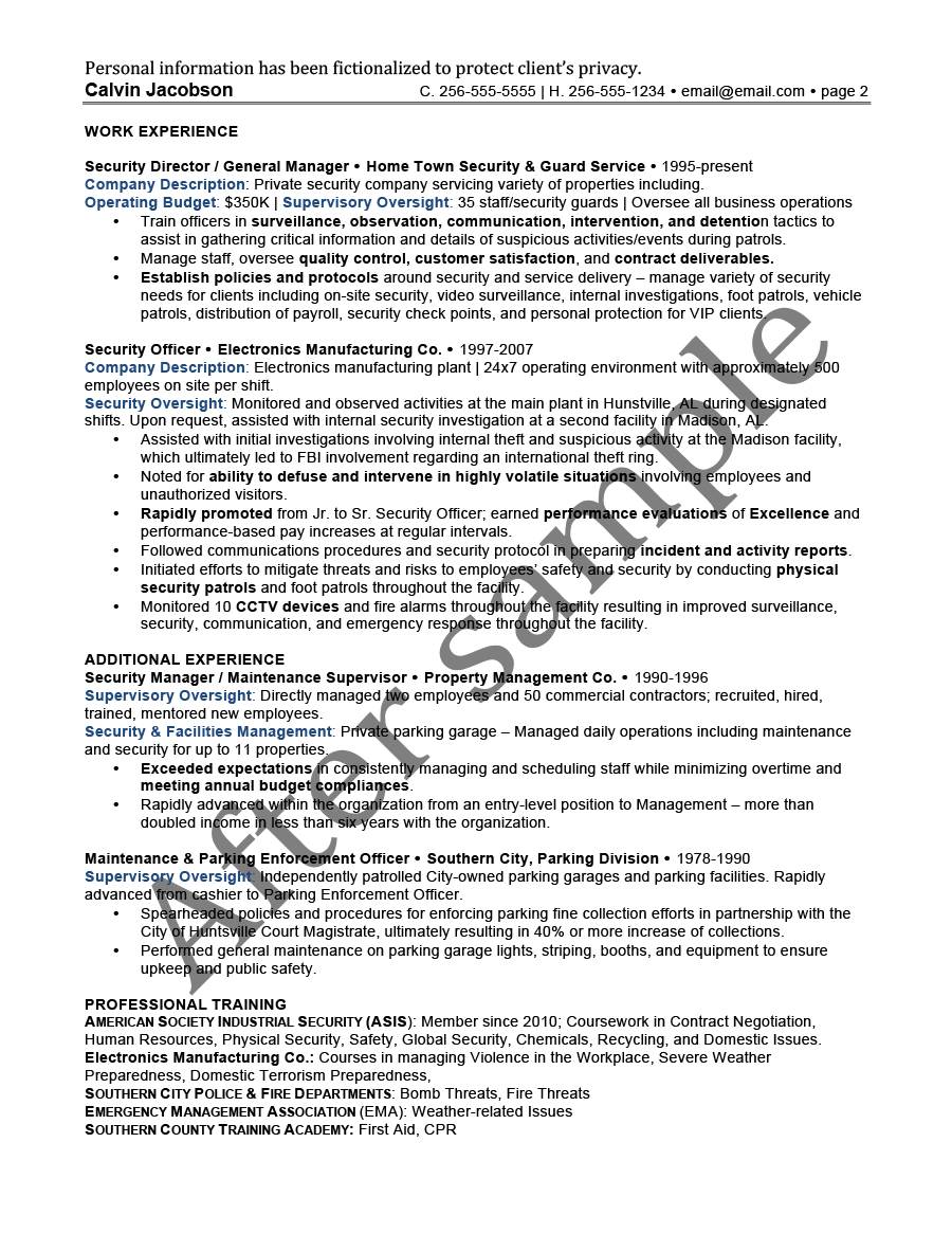 after security management resume 2 - Parking Officer Sample Resume